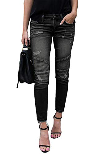 Yidarton Jeans Damen Jeanshosen Röhrenjeans Skinny Slim Fit Stretch Stylische Boyfriend Jeans Zerrissene Destroyed Jeans Hose mit Löchern Lässig (Schwarz,XL)