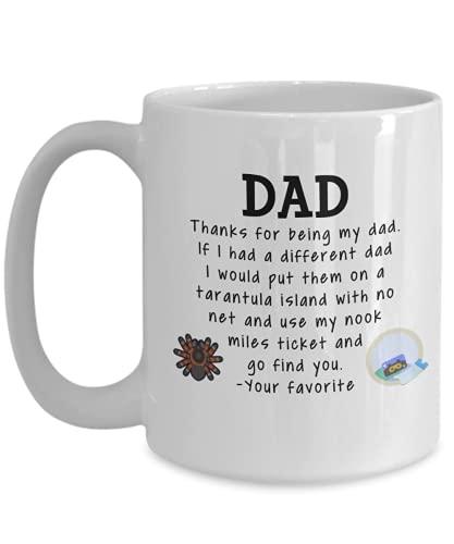 Animal Crossing Dad Coffee Mug 11 oz or 15 oz Father's Day Dad Birthday Dad Christmas ACNH Tarantula Nook Miles Ticket Funny