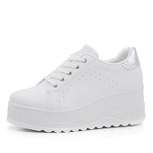 Zapatillas deportivas para mujer con plataforma de cuña alta moda de ante 063 Blanco Size: 37 EU