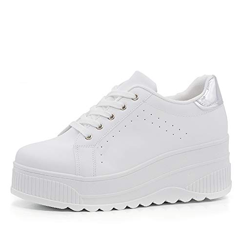 Zapatillas deportivas para mujer con plataforma de cuña alta moda de ante 063 Blanco Size: 36 EU
