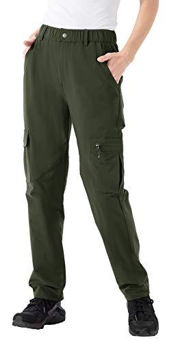 YSENTO Damen Wanderhose Outdoorhose Wasserdicht Softshellhose Winddicht Atmungsaktiv Wander Arbeitshose Trekkinghose mit Taschen(Armeegrün,M)