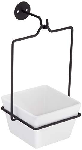 Amazon Basics - Macetero colgante, cuadrado, blanco/negro