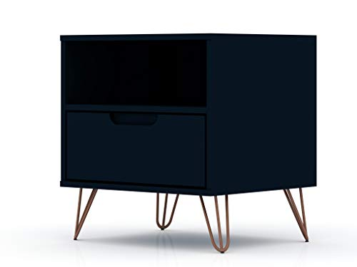 "Manhattan Comfort Rockefeller Mid-Century Modern 1 Drawer Bedroom Nightstand, 20.08"", Midnight Blue"
