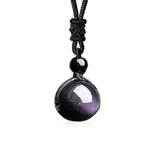 Black Obsidian Necklace Obsidian Pendant Obsidian Necklace for Woman Rainbow Obsidian Stone Black Obsidian Pendant