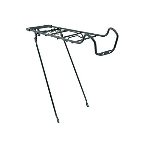 Portaequipajes trasero de acero negro ajustable para bicicleta 24 a 26