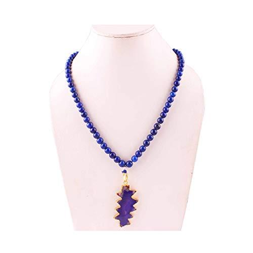 Natürlicher Lapislazuli Edelstein Perlenkette für Frauen, Anhänger Halskette für Frauen, Edelsteinperlen für die Schmuckherstellung, Edelsteinkette, runde Perlenkette
