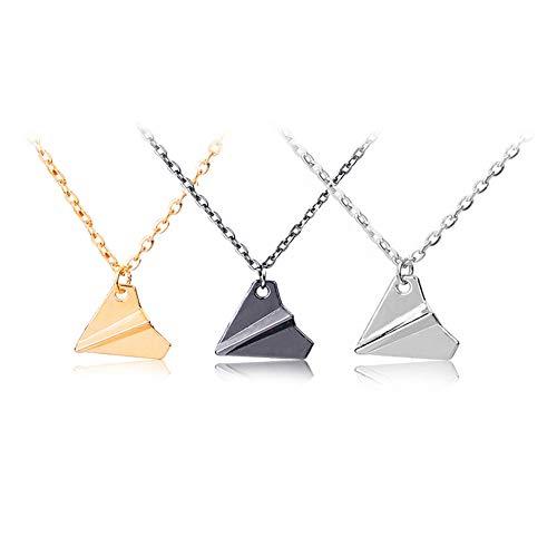 JAHEMU Halskette Damen Elegante Schmuck Papier Flugzeug Anhänger Halskette Valentinstag Geburtstagsgeschenk für Frauen Jungen Mädchen, 3 Stück