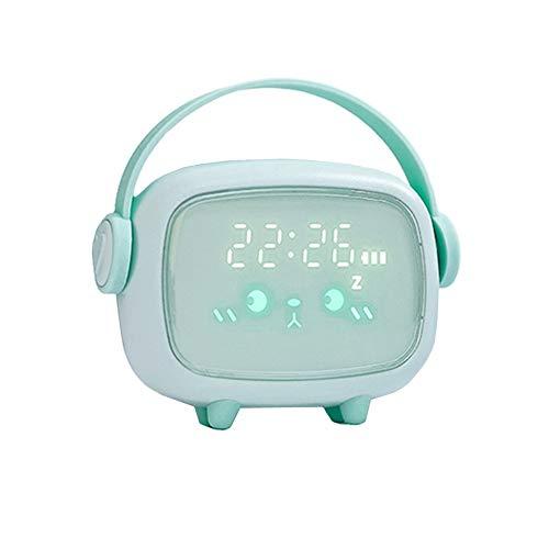 Reloj Digital Sobremesa Despertador Para Niños Bonito Entrenador De Sueño Para Niños Con 2 Alarmas, Brillo Ajustable Con Función De Temporizador De Luz Nocturna De Repetición Green,One Size