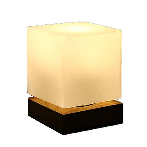 Liangsujiantd Flexo Led Escritorio, Lámpara de mesa LED, lámpara de mesilla de noche, lámpara de mesa de hielo cuadrado de vidrio, artefacto nocturno, luz nocturna creativa, luces ligeras for el cuida