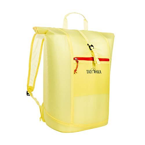 Faltrucksack Tatonka SQZY Rolltop 25l - Ultraleichter, faltbarer Rucksack mit Rollverschluss, extra Packbeutel und 25 Liter Volumen - Klein verpackbar - Damen und Herren - gelb