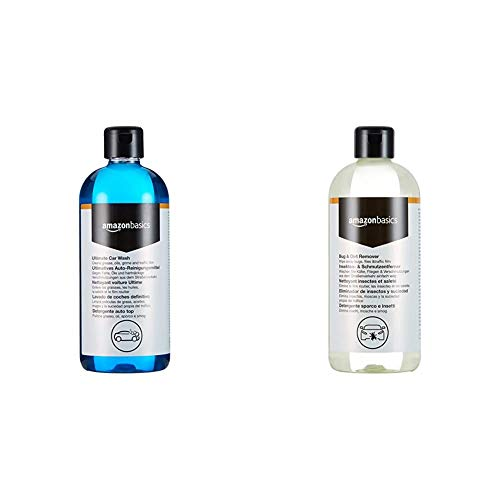 Amazon Basics - Autoshampoo, 500ml, Flasche mit Klappdeckel & Insekten- und Schmutzentferner, 500ml, Sprühflasche