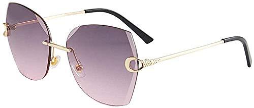 Gafas de sol sin montura de cristal corte borde gafas de sol para mujer protección UV gafas de sol-Upper_Dust_and_Lower_Powder