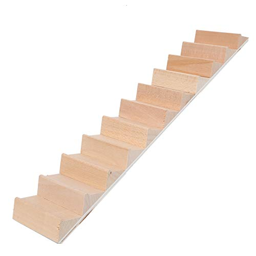 Cryfokt Escaleras en Miniatura de casa de muñecas 1:12 Escalera de Madera DIY Accesorios de casa de muñecas Modelo de Pasos DIY Manualidades Decorativas para casa de muñecas(Escalera sin pasamanos)