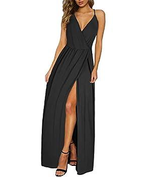 II ININ Women s Deep V-Neck Casual Dress Summer Beach Backless Slit Maxi Dress for Wedding Guest Black,M