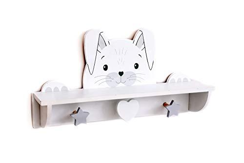 KONTARBOOR - Perchero + estantería 2 en 1 de madera, puerta de mortero para habitación infantil con diseño de conejo