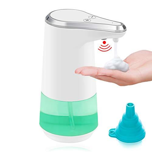HOTLIKE Dispensador de Jabón Automático, Espuma Dispensador sin Contacto con Sensor de Movimiento infrarrojo, 350ml IPX4 Impermeable, Batería Operado, con embudo de silicona plegable, para Baño Cocina