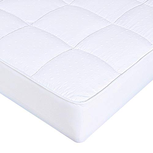 UMI. Essentials Quilted Fitted Mattress Protector Cover Ultra Soft Breathable Polycotton Filled & Elasticated Skirts Both-Sides Use - European King (160x190/200cm)