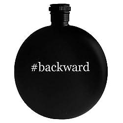 #backward - 5oz Hashtag Round Alcohol Drinking Flask, Black