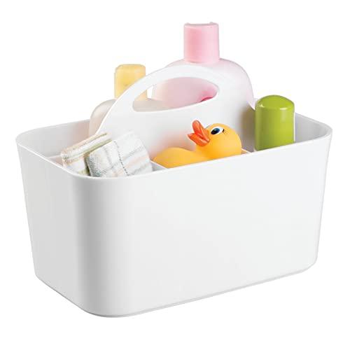 mDesign porta oggetti neonato ideale per gli accessori bagnetto - portagiochi con 4 vani - scatole portagiochi ideali per fasciatoi, cameretta neonato, ecc. - colore bianco