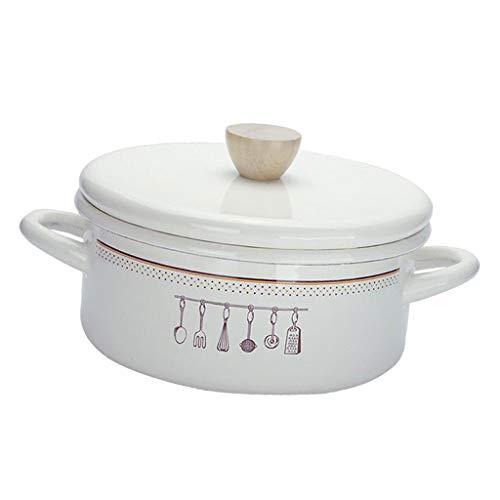 Fenteer スープヌードルお粥料理用ふたエナメルストックポット付きノンスティックシチュー鍋