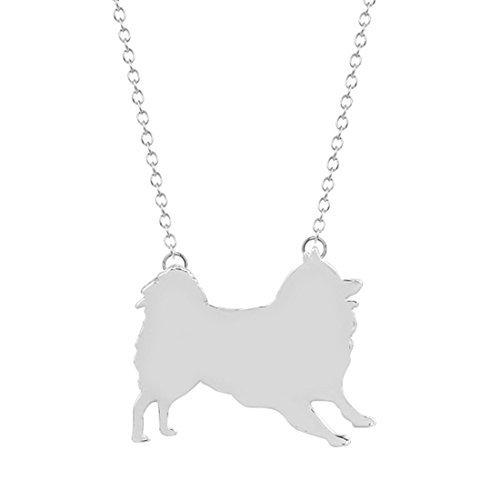Collar de plata o oro con diseño de perro Samoyed, joyería de perro Samoyed, colgante de silueta...