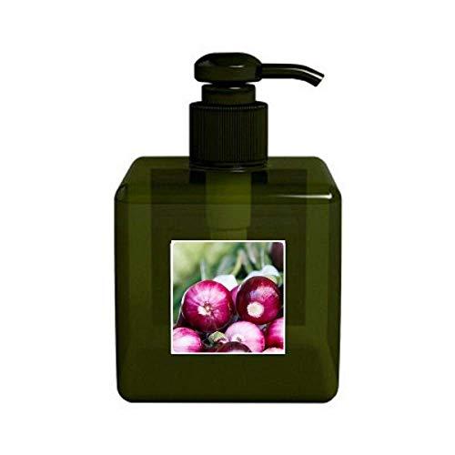 Foto vageable templada frescas cebollas, bomba de botella de dispensador de jabón