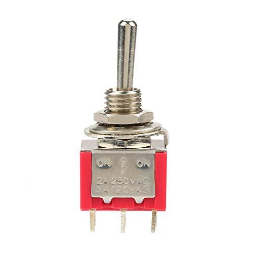 EVTSCAN Últimas 10 piezas MTS-223 6 terminales 3 posiciones DPDT momentáneo Mini interruptor de palanca en miniatura Tablero de instrumentos del coche (encendido)/apagado/(encendido) 5A 125V 2A 250V