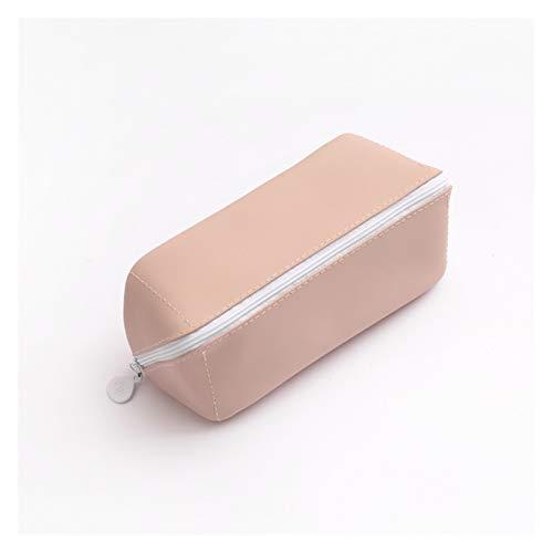 Papelería Estuche grande de piel con capacidad para lápices de color sólido, bolsa de lápices, estuche organizador de papelería, dispensador de bolsas de lápices Kawaii (color 01)