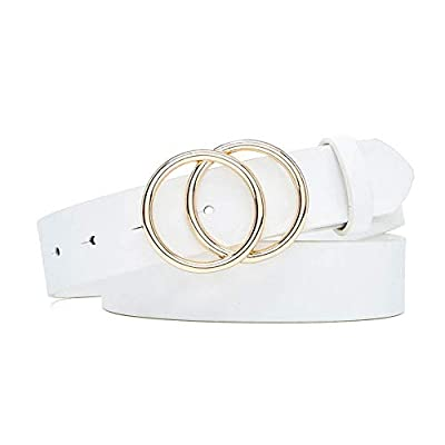 Ifendei Women's Leather Belt with Gold Double O-Ring Buckle Belts for Jeans White