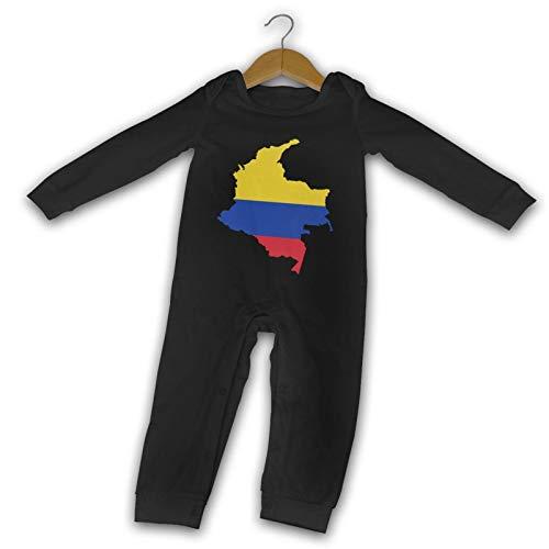 GPerlaAlva Colombia Flag Map Newborn Gilr's Boys Kid Baby Long Sleeve Toddler(12M,Black)