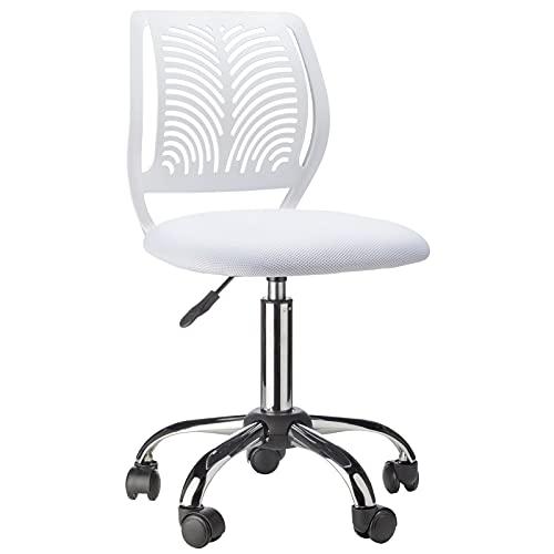 BlueOcean Furniture - Sedia ergonomica per computer, in rete traspirante e imbottito, colore: bianco