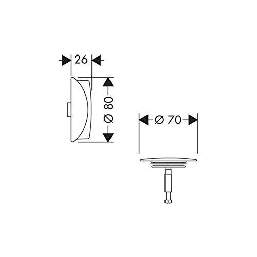 Hansgrohe Ab-u.Überlaufgarnitur Flexaplus F-Set (Griff u.Stopfen) mattweiss, 58185700