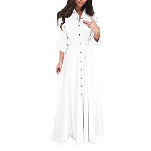 Muyise Damen Kleid Abendkleid Maxikleid elegant Lange Ärmel Revers Knopf T-Shirt Kleid beiläufigen Spitze Taille dünnes große Langen Dress Freizeitkleider Partykleid(Weiß,XL)