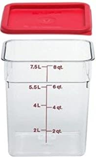 Cambro Camwear Polycarbonate Square Food Storage Container, 8 Quart With Lid