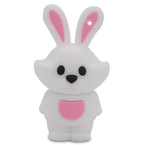 818-Shop No90800010128 Lustiger USB-Stick 128GB Tierkreiszeichen Hase weiß