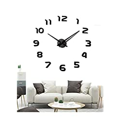 EONPOW Large Modern 3D Frameless DIY Wall Clock Mute Mirror Stickers Decoration for Living Room Bedroom…