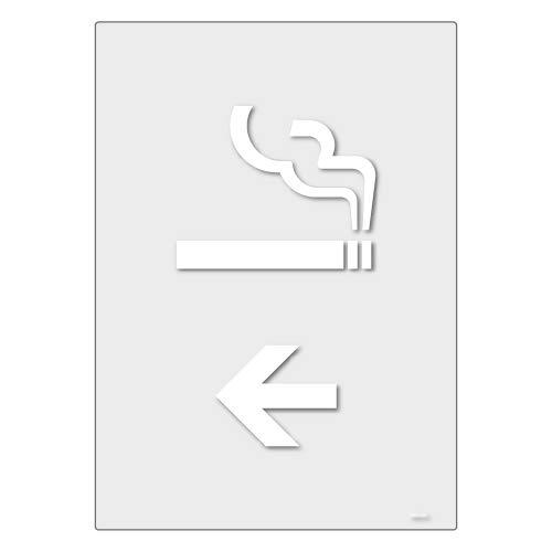 標識スクエア「 喫煙室(英語)(←左) 」タテ・中【透明ステッカー シール】138×194mm CBK3108 2枚組