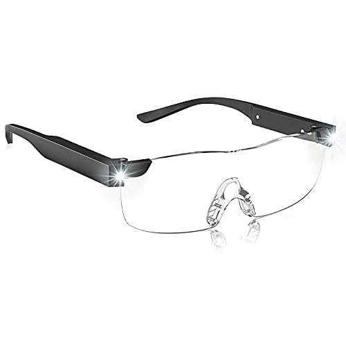OKH Lupa con luz, 160% de aumento de las gafas iluminadas, luces LED recargables, bloqueo de luz azul, manos libres para trabajo...