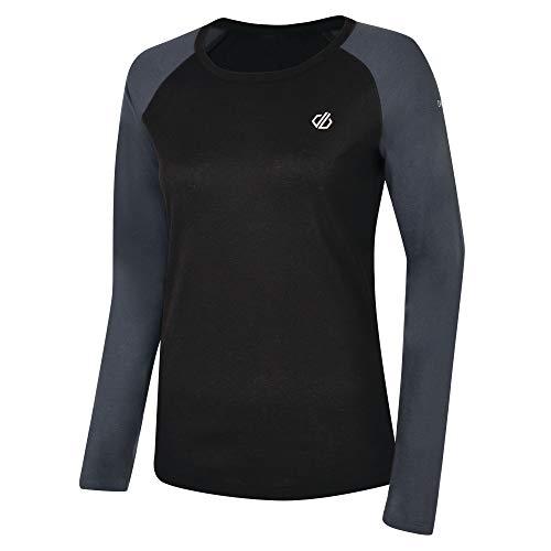 Dare 2b Maillot Manches Longues Première Couche Technique Exchange Base Layer Femme, Black/Ebony Grey, FR : 2XL (Taille Fabricant : 18)