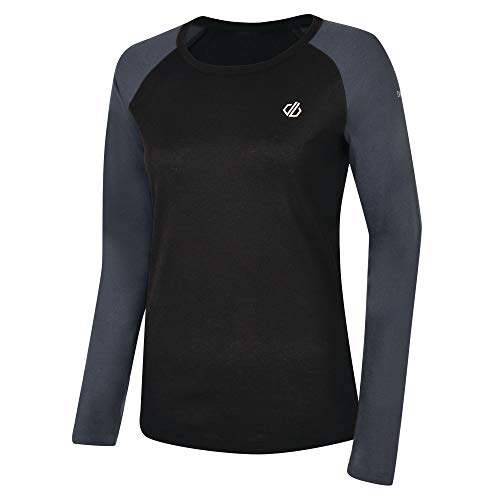 Dare 2b Maillot Manches Longues Première Couche Technique Exchange Base Layer Femme, Black/Ebony Grey, FR : S (Taille Fabricant : 10)