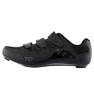 Hiland Indoor Cycling Shoes 3 Bolt Spin Road Bike Shoe for Women Men Spinning MTB Lock Pedal Bicycle Cleated Compatible with Look Keo Delta Shimano SPD SPD-SL Cleats Black White 43
