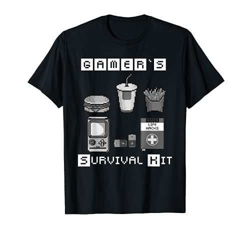 Gamers Survival Kit de rescate para Zocker Food Pixel Art Camiseta