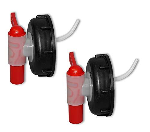 Wilai Lote de 2 Grifos aeroflow para bidón con Apertura DIN 71, HDPE Calidad alimentaria (2x22045)