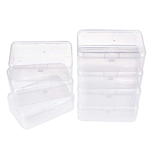 BENECREAT 12 Pack 3.5x2.4x1.2 Inches Rectangular Clear Plastic Bead Storage Box with Lid for Small Items and Crafts