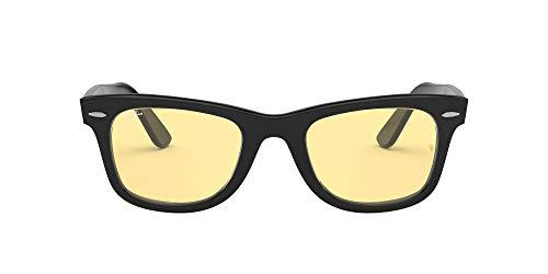 Ray-Ban RB2140F Original Wayfarer Asian Fit Sunglasses, Black/Yellow, 52 mm