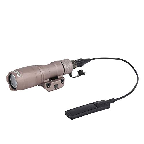 FARMSOLDIER Tactical LED Mini Scout Flashlight Torch, Single Mode Weapon Light with Pressure Switch Picatinny Mount Rail Offset for Hunting Hiking (M300A,Tan)