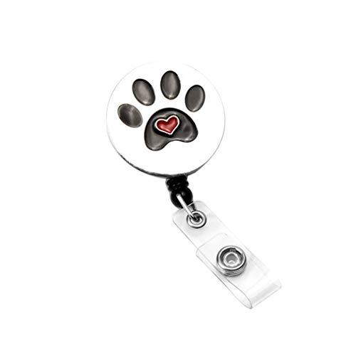 Surlove Dog Paw Print Retractable Badge Reel with Swivel Alligator Clip Round ID Name Tag Badge Holder (Black Dog Paw Print)