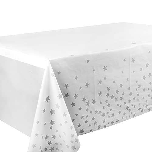 2pcs Manteles Mesa 137x270cm Manteles Plásticos Rectangulares con Estrellas Grises para Banquetes Cenas Fiestas Navidad Bodas Bautizo Picnics Bufé Cumpleaños Barbacoas