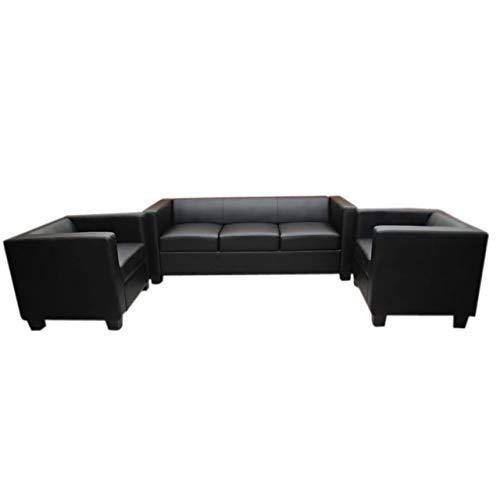 Mendler 3-1-1 Sofagarnitur Couchgarnitur Loungesofa Lille Leder ~ schwarz