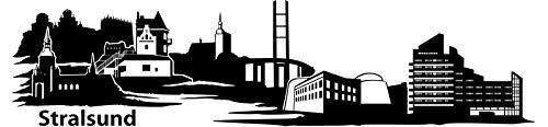 Wandtattoo Skyline Stralsund XXL Text Stadt Wand Aufkleber Wandsticker Wandaufkleber Deko sticker Wohnzimmer Autoaufkleber 1M181, Skyline Größe:Länge 280cm